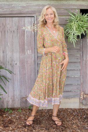 Genevieve Dress - Moss Garden