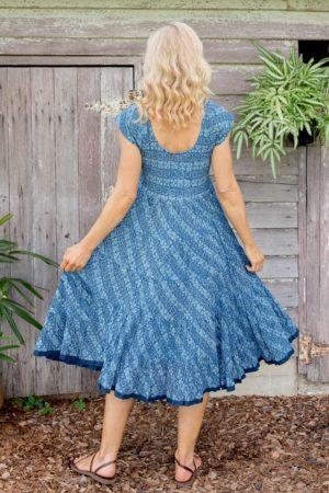 Jalabi Dress - Indigo Daisy Tile