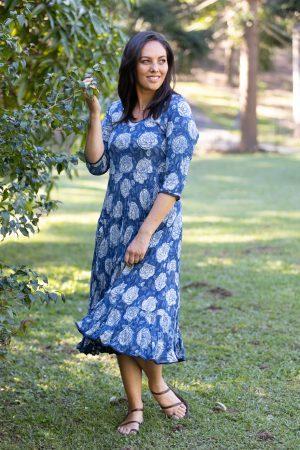 Flamenco Dress with Sleeves - Indigo Big Rose