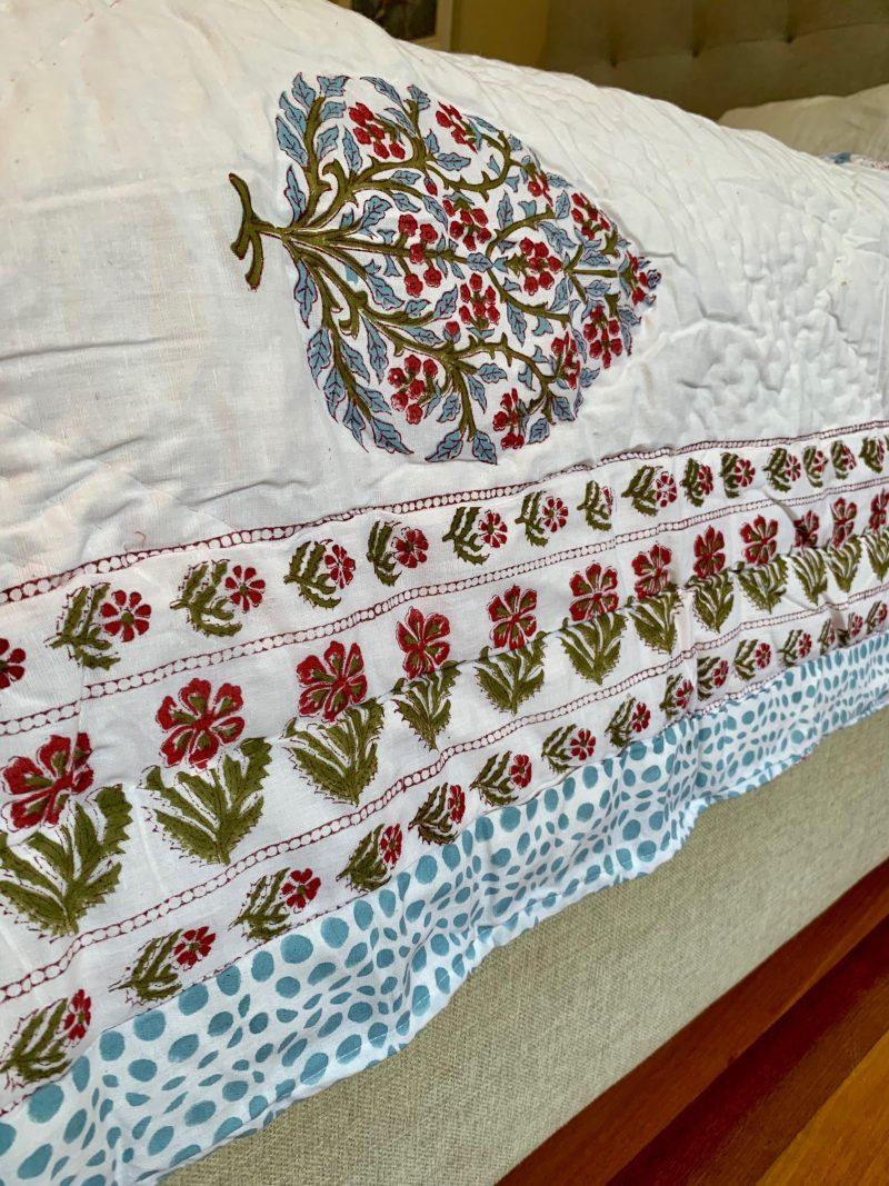 Hand Block Printed Quilt - Secret Garden