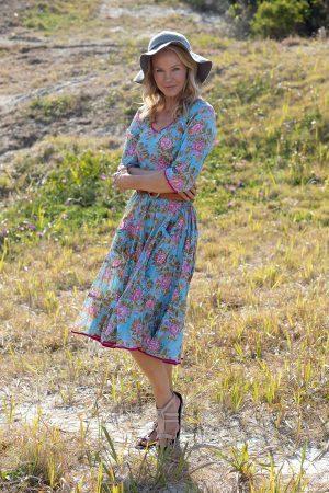 Flamenco Dress with Sleeves - Sea Garden